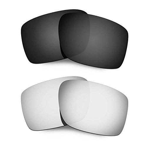 HKUCO Mens Replacement Lenses For Oakley Double Edge Black/Titanium Sunglasses