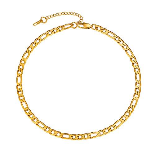 ChainsPro Figarokette Herren Halskette 316L Edelstahl Silber Sterlingsilber O Kette Panzerkette ohne Anhänger Herrenschmuck 18