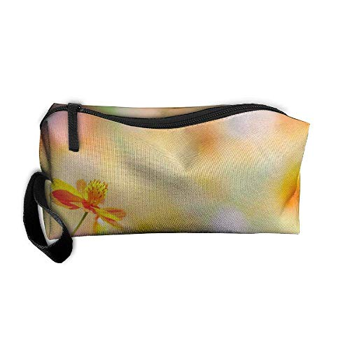 Fuzzy Summer Flower Pattern Makeup Bag Printing Girl Women Travel Portable Cosmetic Bag Sewing Kit Stationery Bags Fashion Storage Pouch Bag Multi-Function Bag Storage Bags -
