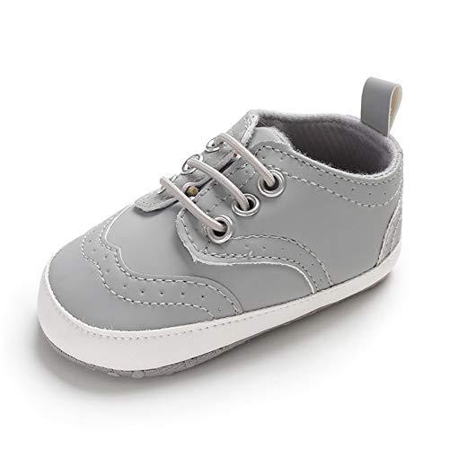 LACOFIA Baby Jungen Lauflernschuhe Kleinkinder Weiche Sohle Schnüren Sneakers Grau 6-12 Monate -