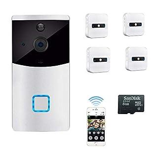 Video Türklingel PIR Bewegungsmelder Monitor Kamera Gegensprechfunktion, 720p HD WiFi Türglocken, ip Überwachungskameras Kabellose Doorbell, App-Steuerung für iOS und Android IR Nachtsicht Modus