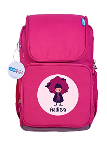 URBAN KOLOURS UniQBees Personalised School Bag with Name (Active Kids Medium School Backpack-Pink-Falcon)