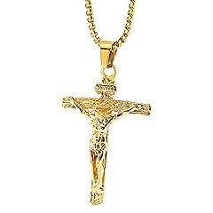Idea Regalo - Onepine Collana in acciaio inossidabile Gesù Cristo Crocifisso Collana da uomo Antica croce pendente religioso Collana, 24