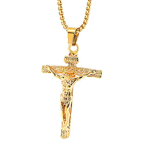 """Onepine Edelstahl Halskette Jesus Christus Kruzifix Herren Halskette Antikes Kreuz Religiöse Anhänger Halskette, 24\""""Kette (Gold)"""