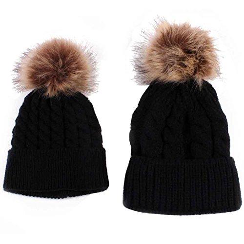 parent-enfant-bonnet-de-tricot-maman-et-le-bebe-gardez-chapeau-chaud-l-noir