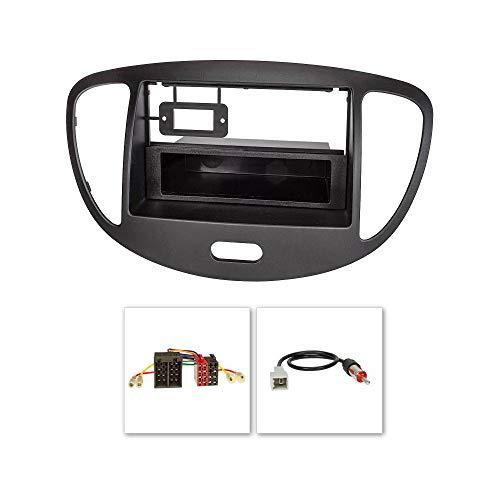 tomzz Audio 2419-005 Radioblende Set passend für Hyundai i10 Bj.2008-2013 schwarz mit Radioadapter ISO, GT5 Antennenadapter DIN -