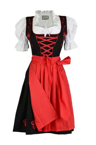 3tlg. Dirndl Blumenranke Rot mit Bluse und Schuerze, Gr. 32