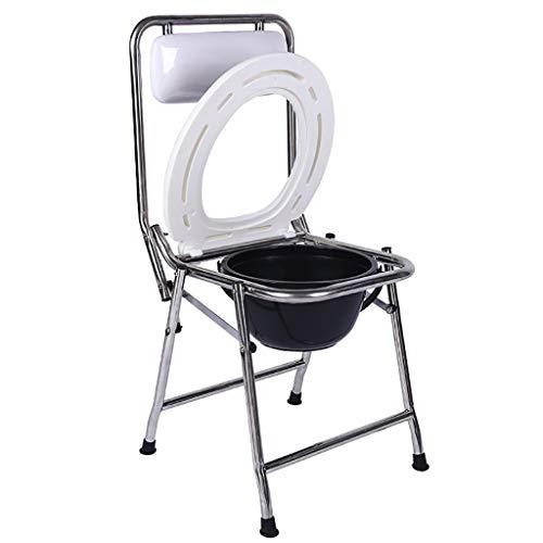 Toilettenstuhl/Nachttisch Wc/Badstuhl Edelstahl Faltbar Weiß, FüR äLtere Menschen, Behinderte, Schwangere  -