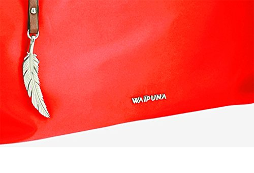 Große Shoppertasche von Waipuna aus hochwertigem Nylon, Schultertasche mit Schlüsselanhänger, Handtasche mit schönen, braunen PU-Leder Details, camel red / rot