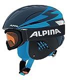 ALPINA Kinder Skihelm Carat mit Skibrille Ruby S SH Set Marine (300) S