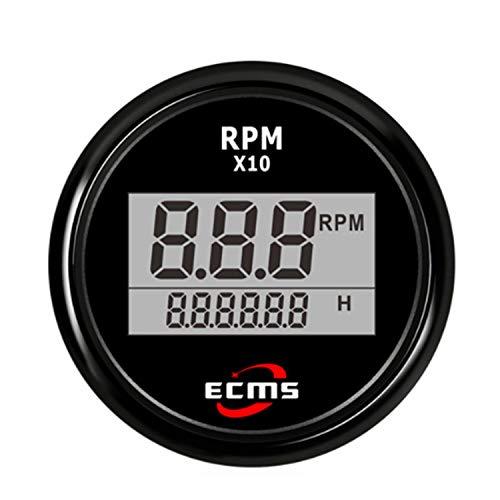 """Man-Car Instruments Digital Tachometer Drehzahlmesser mit Betriebsstundenzähler für Auto LKW Boot Yacht 0-9990RPM 52mm (2"""") mit Hintergrundbeleuchtung für Auto LKW Boot"""