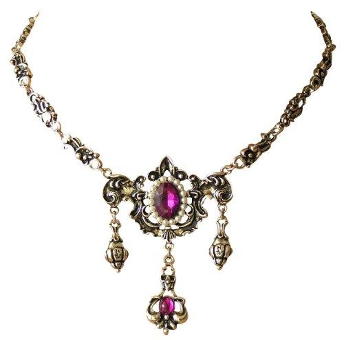Wunderschönes Bidermeier Collier - Antikschmuck Replikat - Trachtenkette zum Dirndl - Lila violett