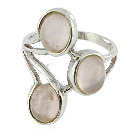 4a24bf094454 Anillo con Cuarzo rosa 38-06 - Bisutería de plata rodinada con Cuarzo rosa -