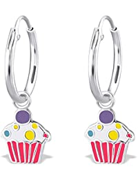 JAYARE Boucles d'oreilles Enfants muffins cupcakes 21 x 8 mm Email argent sterling 925 multicolore avec étui de cadeau pendantes d'oreilles fille