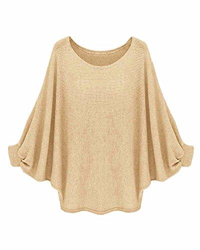 ZANZEA Pullover Oversize Asymmetrisch Lässig Einfarbig Fledermausärmel Sweater Jumper Khaki EU 38 / US 6