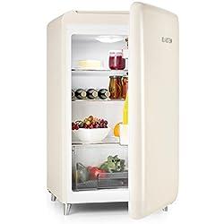 Klarstein PopArt-Bar - réfrigérateur rétro, mini-réfrigérateur, classe d'energie A+, capacité: 136 litres, look retro, charnière à droite, style années 50, bac à légume, crème