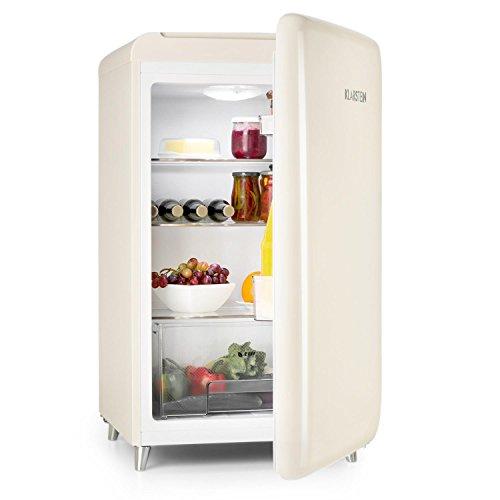 Klarstein PopArt-Bar • réfrigérateur rétro • mini-réfrigérateur • classe d'energie A+ • capacité: 136 litres • look retro • charnière à droite • style années 50 • bac à légume • crème