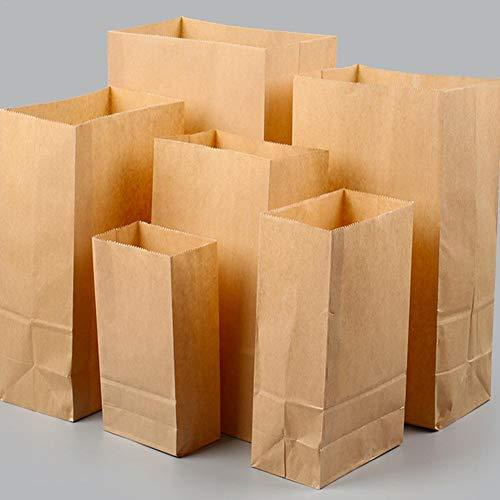 100 Stück Kraftpapier Lunchbeutel Papier Brot Brot Brot Brot Brot Brot Bag Lunch Bags Durable Kraftpapier Beutel Brot Bag Snack Bag Take Out Bags 100% recyceltes Kraftpapier, braun