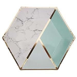 Luckybaby Stoviglie USA e Getta di Carta Verde Marmo Menta Verde Menta - Hexagon Design | per Matrimoni e pasti di Lusso - Tovaglioli Tovaglioli Piatti