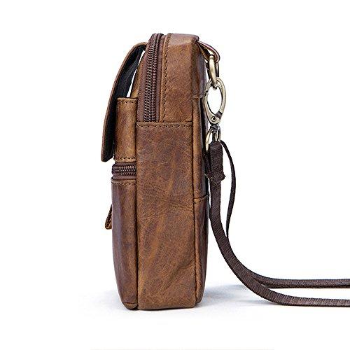 Gendi Cremallera de cuero genuino de la vendimia de los hombres Cremallera de la hebilla del pecho hecho a mano Fanny Pack Bolsa de cinturón de hombro Bolsa