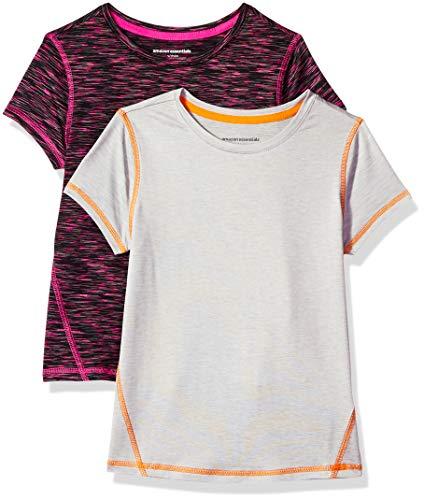 Amazon Essentials Mädchen-Kurzarmshirt Active, 2er-Pack, Black Spacedye/Light Grey Heather, US L (EU 134-140 CM)