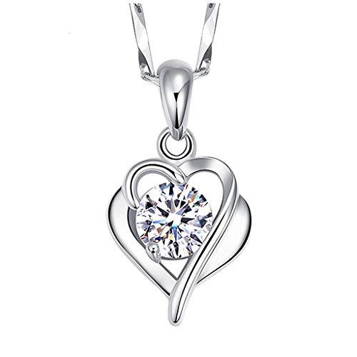 ür Damen Herz Anhänger Silberkette Damen edle Herzkette als Geschenk Frauen Silber Einfache Student Sen Temperament Schlüsselbein Kette Liebe Diamant Halskette (Silber) ()