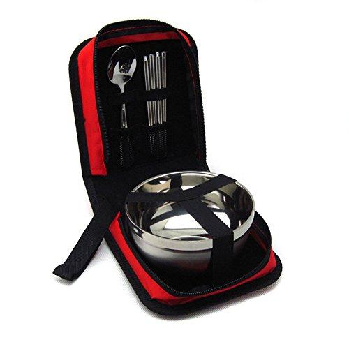TININNA Portable di corsa dell'acciaio inossidabile Spoon Bacchette cinesi Set da tavola con Pull Catena Caso -rosso