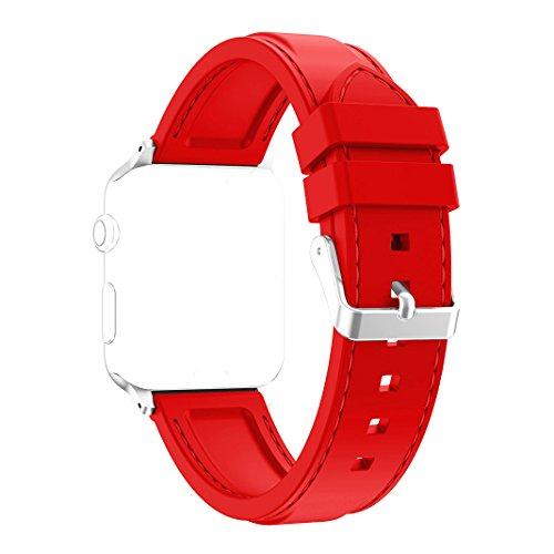 Nike-monitor-armband (Band für Apple Watch 42MM, Rosa Schleife Soft Silikon Ersatzband iWatch Sport Straps Replacement Wristband Bracelet Armband Uhrenarmband mit Edelstahl Schnalle für Apple Watch Series 2 , Series 1, Sport, Edition - Rot)