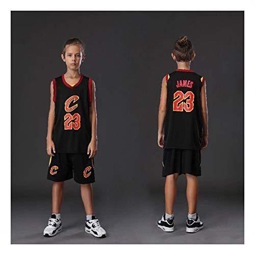 Kinder Trikotset Klassischer Basketball Trainingsanzug for Jungen Und Mädchen (Color : Black, Size : XXL)