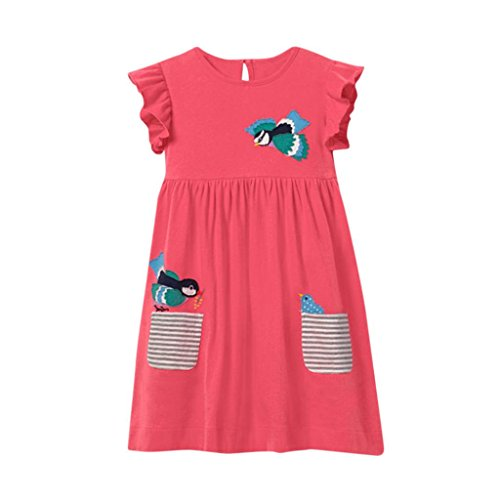 Kinderkleidung, Yanhoo Mädchen Karikatur Druck Gesticktes Applique Kleid Mädchen Muster Kleid Kurze Ärmel Gestreiften Kleid Outfit Kleidung (120, Rosa)