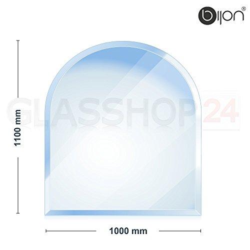 glasshop24 bijon® - 8mm Kamin Glasbodenplatte - Rundbogen 1000x1100x8mm -18mm Facette