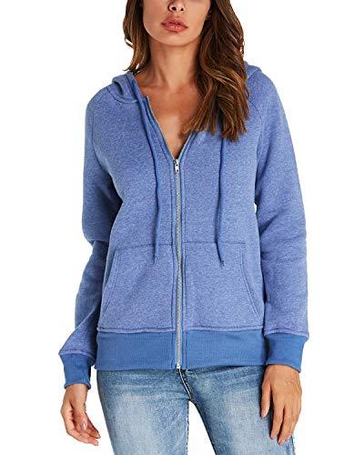 Kidsform Damen Hoodie Langarm Pullover Kapuzenpulli Outwear Kapuzenjacke Sweatshirt Jacken Blau EU 38/Etikettgröße M
