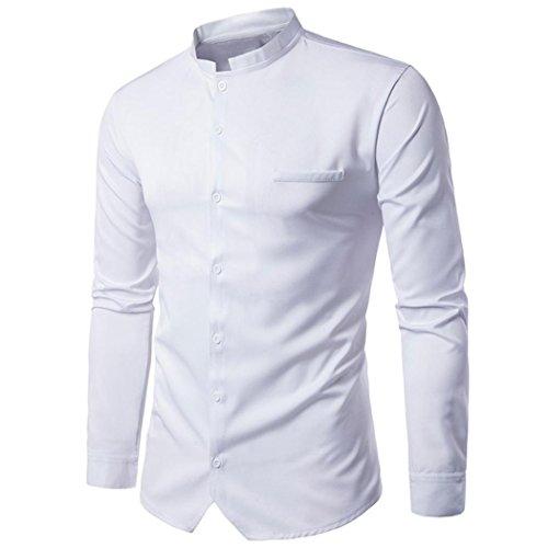 SEWORLD 2018 Herren Herbst Winter Persönlichkeit Hemd Einfarbig Langarmhemd Blatt Knopf Hemden Oberteil Oktoberfest (Weiß,EU-52/CN-2XL)