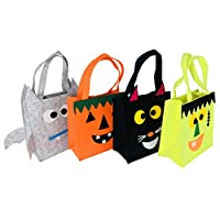 NIGHT-GRING Set of 4 Halloween Candy Goody Bag Basket Bucket Treat or Trick Hand Bag Festival Party Bags (4)