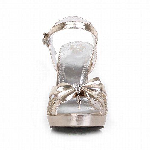 MissSaSa Femmes Sandales Bride Cheville Décorations Noeud à Deux Boucle Or