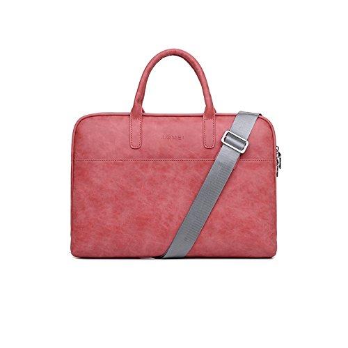 Zetiy 14 Zoll PU Leder Laptoptasche Notebooktasche Messenger Bag Umhängetasche Aktentasche Laptop Tasche Hülle Sleeve Case Rot