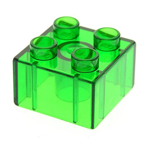 1 x Lego Duplo Bau Stein 2x2 Transparent Grün Glassteine für Zoo Parks Intelli Eisenbahn 9125 3325 3614 4168695 3437 31460