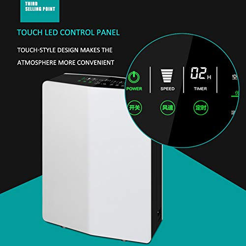 41Ci6u4 IfL. SS500  - Lbellay Double electrostatic Negative ion Intelligent air purifier Touch type home air micro purifier Wind speed adjustment | temperature and humidity display,White-65 * 43 * 20 cm