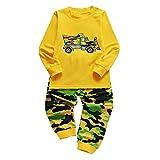 Fenverk 2Pc Jungs Pyjama Kinder Kleider Pjs NachtwäSche Zum LKW Dinosaurier Kind Kleinkind Lange äRmel Einstellen Baby MäDchen Karikatur Gedruckt Tops Hose Outfits 1Y-5Y(Gelb,4-5 Jahre)