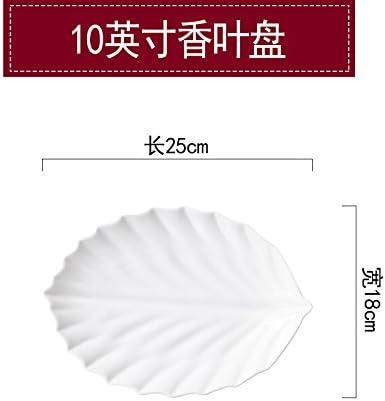 YUWANW Creative Ceramic Steak Dish Western Steak Ceramic Dish Household Net Cabbage Dish Pasta Plate Inventory Heart Dish Fruit Salad Plate, 10 Inches Bamboo Soup Plate 9208b8