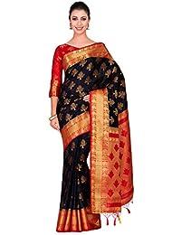 728ea230f4368 Mimosa Art silk Wedding saree Kanjivarm Pattu style With Contrast Blouse  Color  Black (4309