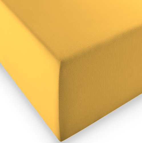 sleepling Komfort Jersey-Elastic Stretch Spannbettuch Spannbettlaken für Matratzen bis 30 cm Höhe (215 gr. / m²) mit 3{bfe711124b964db3a2f7bd27cc0e41f4742b5ec4c3ea19e894ae1cfcc85dc352} Elastan 180 x 200-200 x 220 cm, gelb