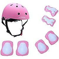 Set di protezione/sicurezza sportiva per bambini Kamugo, regolabile, con imbottiture protettive (casco, ginocchiera, gomitiera, polsiera), per pattini a rotella, bicicletta, BMX, skateboard, hoverboard e altri sport estremi, Pink