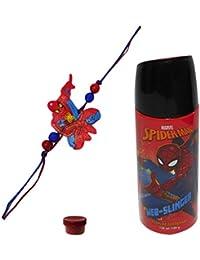 Adiari Fashion Multicolored Rakhi with Spiderman Perfume Deo 150ml for Kids