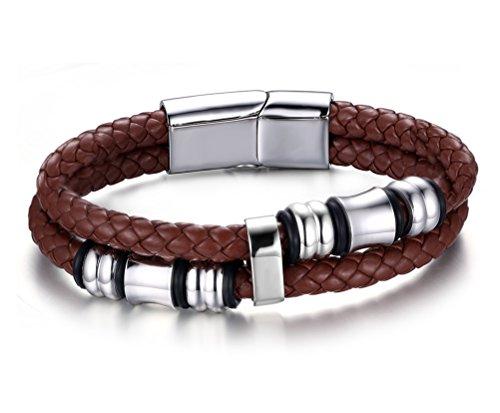 Vnox Wristband gioielli Uomo Vintage doppio dell'acciaio inossidabile intrecciato vera pelle con chiusura magnetica