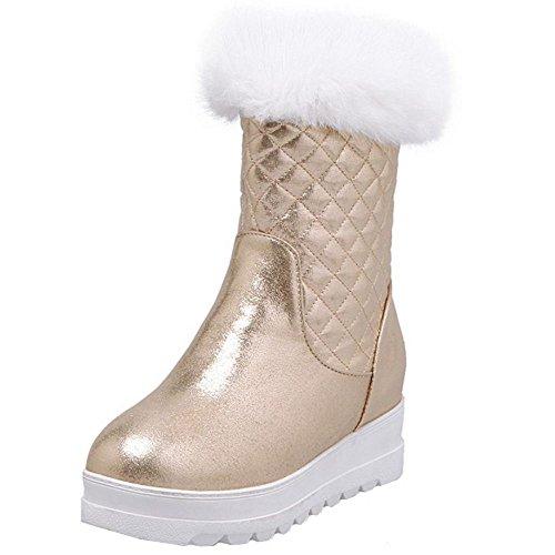 TAOFFEN Damen Winter Warm Reißverschluss Langschaft Schnee Stiefel Mit Synthetik Fell Gold