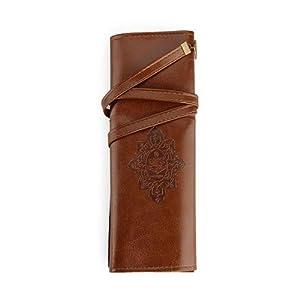 fendii Vintage estilo Roll Up estuche bolsa soporte para bolígrafo bolsillo piel bolsillo marrón