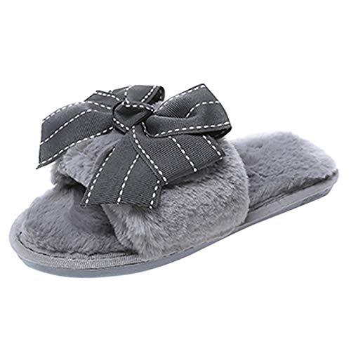 Scenxion Damen Sommer Sandalen Hausschuhe Strand Flip Flops mit Schleife Damen Komfort Slip On Home Indoor Outdoor Schuhe Frauen Bohemian Sandalen, Grau - grau - Größe: 38 EU -