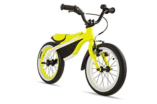 coolmobility bambini bici da corsa 14Elite lernlaufrad, Bambini, Rennrad 14 Elite, White/lemon Matt, 14 Zoll