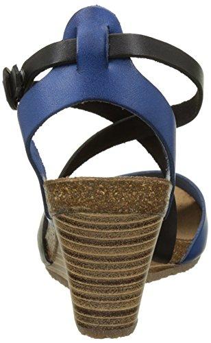 Kickers Spagnol, Sandales compensées femme Bleu (Bleu Noir)